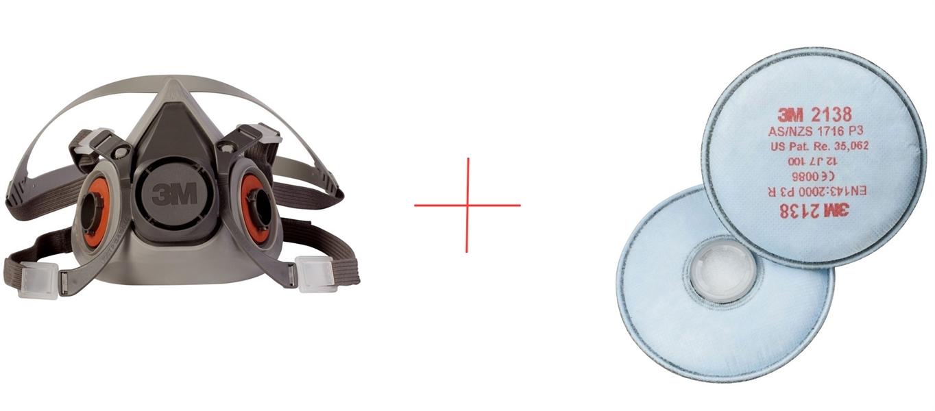 3M Mask Respirator 6200 M + filter 2138